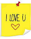 Bild: Gul notis med texten I love you