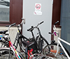 Bicycles infront of emergency exit