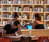 Students at the library in Studenthuset