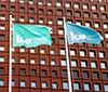 LiU flags in front of Studenthuset